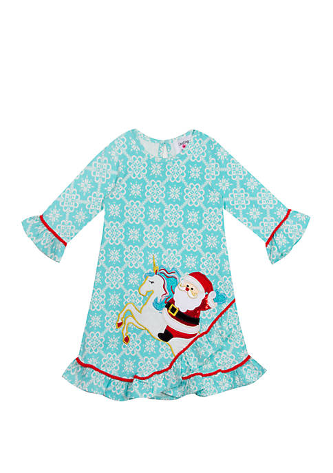 Rare Editions Girls 7-16 Santa Unicorn Applique Dress