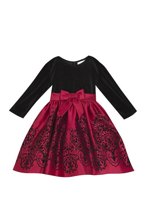 Rare Editions Girls 7-16 Velvet Flocked Skirt Dress