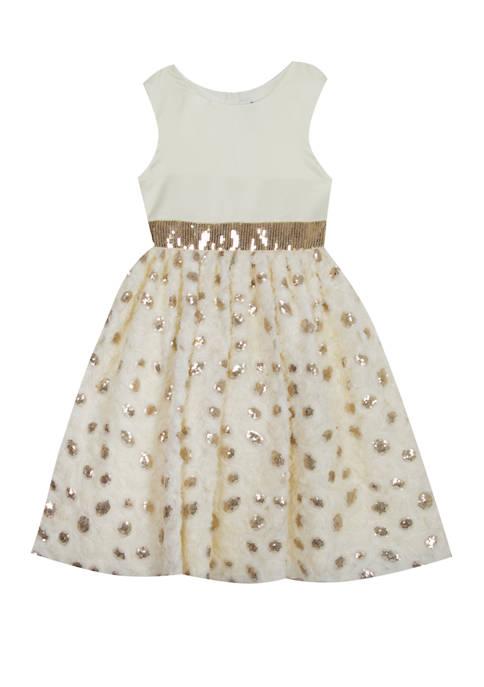 Rare Editions Girls 7-16 Ivory Gold Flower Skirt