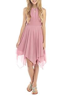 Jewel Neck Social Dress Girls 7-16