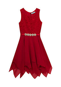 Girls 7-16 Red Lace Bodice To Chiffon Handkerchief Hem Skirt Dress