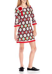 Girls 7-16 Long Sleeve Multi Ornament Dress