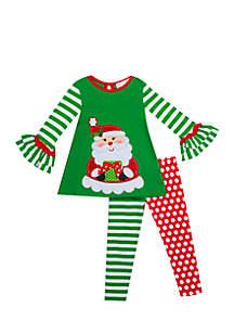 Girls 7-16 Green Stripe Santa Legging Set