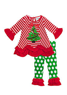 Girls 7-16 Red-White Stripe Knit Top With Tree Applique To Green Dot Legging