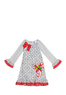 Girls 7-16 Grey/White Mix Print Dress With Candy Cane Applique