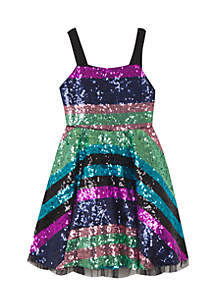 Girls 7-16 Sequin Stripe New Years Eve Dress