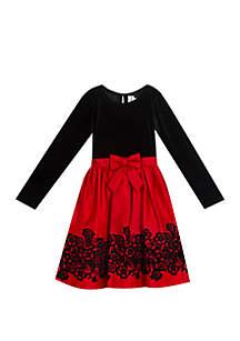 Rare Editions Girls 7-16 Long Sleeve Velvet Flocked Black and Red Dress