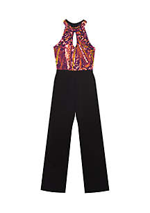 Girls 7-16 Sequin Bodice Black Pantsuit