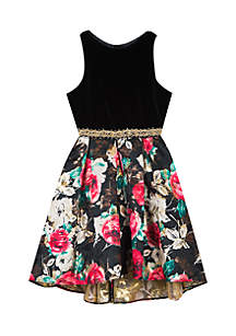 Girls 7-16 Black to Floral Print Dress