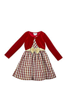 Girls 7-16 Red Cardigan Ivory Gold Tartan Plaid Dress