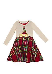 Girls 7-16 Gold Cardigan Foil Plaid Dress