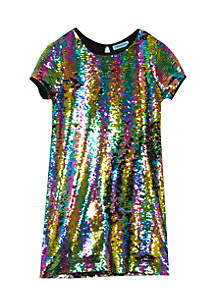 Girls 7-16 Short Sleeve Rainbow Sequin New Years Eve Dress