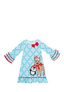 Girls 7-16 Mint Medallion Sequin Rudolf Knit Dress