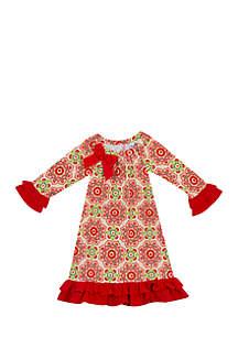 Girls 7-16 Tan Red Poinsettia Print Ruffle Hem Dress