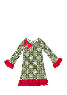 Girls 7-16 Olive/Ivory Printed Knit Dress With Red Ruffles