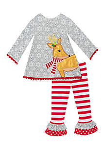 Girls 7-16 Grey Reindeer Set