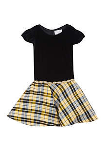 Girls 7-16 Black Gold White Plaid Waist Dress