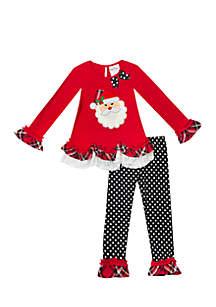 Girls 7-16 Santa Plaid Dot Legging Set