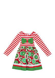 Girls 7-16 Red/White/Green Mix Print Dress