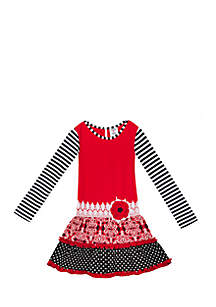 Girls 7-16 Red Knit Bodice To Black/White Mix Printed Skirt