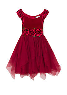 Girls 7-16 Burgundy Rosette Velvet Corkscrew Dress