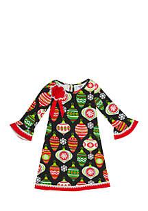 Girls 7-16 Black Ornament Knit Dress
