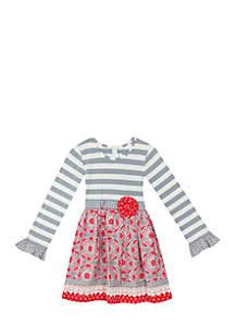 Girls 7-16 Gray/White Stripe Bodice To Mix Print Skirt