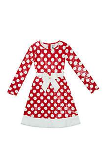 Girls 7-16 Long Sleeve Santa Foil Dot Dress