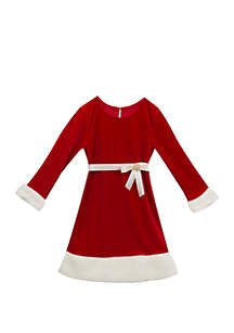 Girls 7-16 Long Sleeve Santa Dress