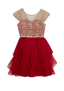 Girls 7-16 Gold Lace Red Tiered Party Dress