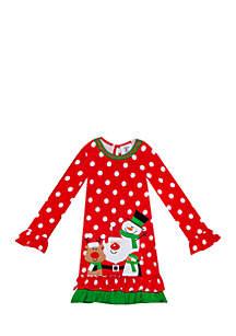Girls 7-16 Red Dot Snowman Dress
