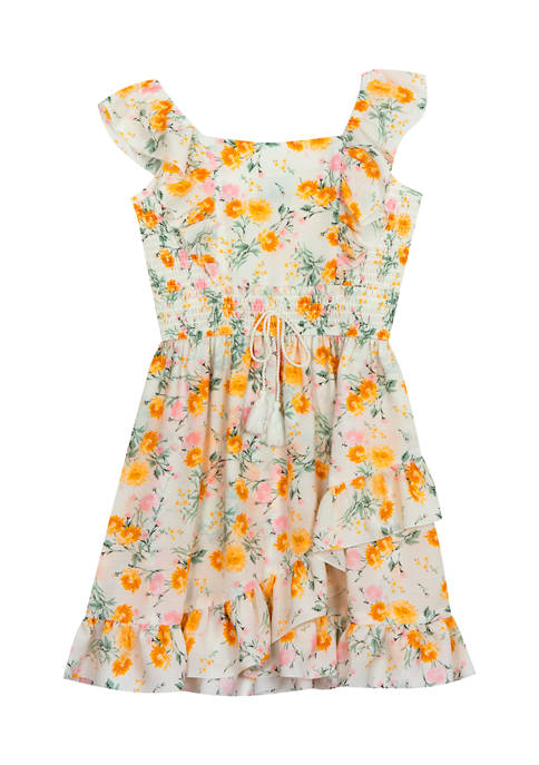 Counting Daisies Girls 4-6x Printed Ruffle Top Wrap