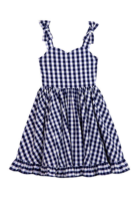 Rare Editions Girls 4-6x Bow Strap Gingham Knit