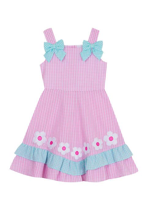 Counting Daisies Girls 4-6x Seersucker Dress with Flower