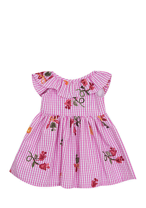 Rare Editions Gingham Floral Embroidered Dress Girls 4-6x