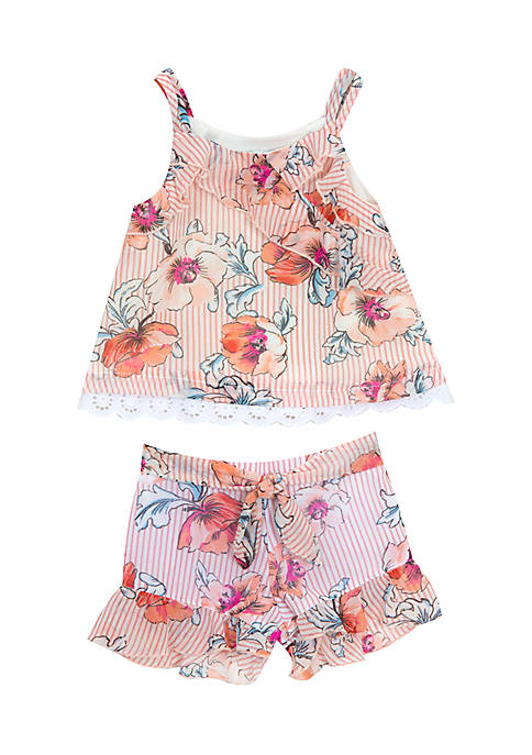 Rare Editions Girls 4-6x Floral Tank Short Set