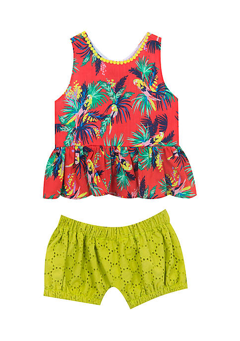 Rare Editions Girls 4-6x Toucan Crochet Short Set