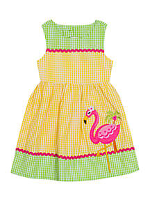 Rare Editions Girls 4-6x Flamingo Seersucker Dress