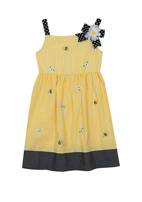 Rare Editions Girls 4-6x Bumble Bee Seersucker Dress