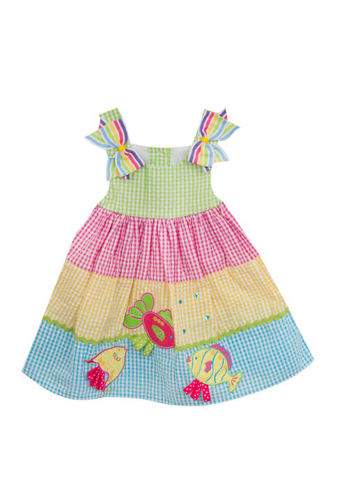 Girls 4-6x Sleeveless Fish Colorblock Seersucker Dress