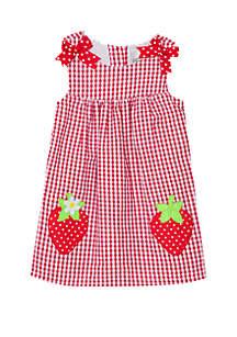 852412e4c7ad ... Rare Editions Girls 4-7 Seersucker Dress with Strawberry Applique