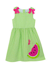 Rare Editions Girls 4-7 Lime Seersucker Dress with Watermelon Applique