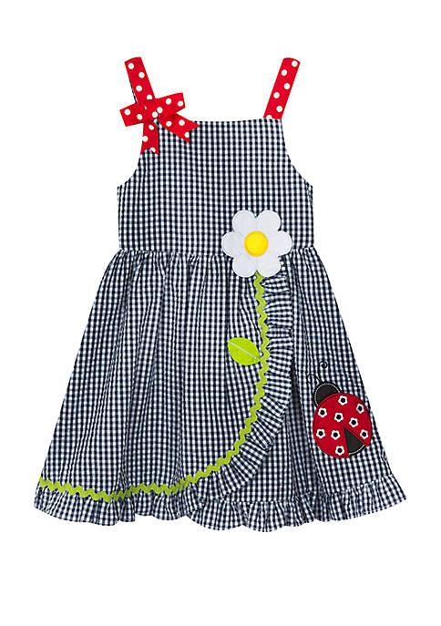 Girls 4-6x Seersucker Dress with Ladybug Applique