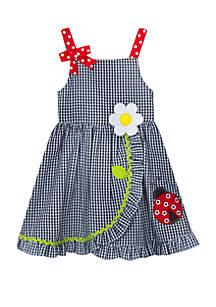 Rare Editions Girls 4-6x Seersucker Dress with Ladybug Applique