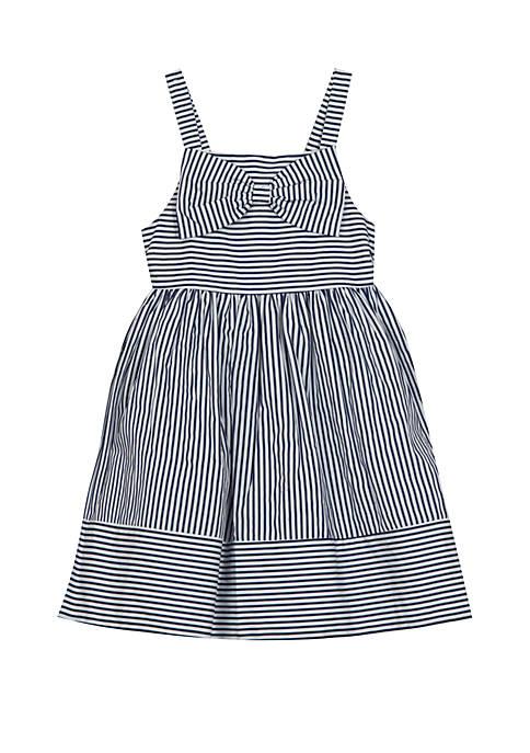 Rare Editions Girls 4-6x Navy Stripe Bow Dress