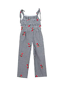 Rare Editions Girls 4-6x Gingham Floral Embroidered Jumpsuit