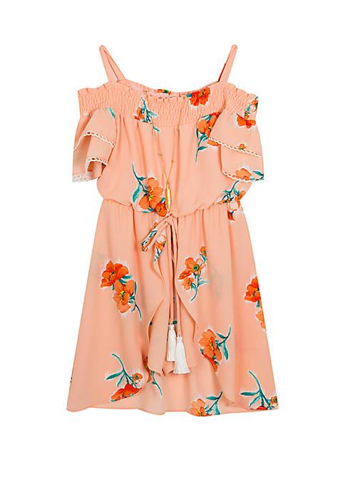 Rare Editions Girls 4-6x Peach Floral Walk Through