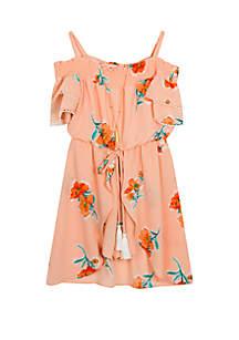 Rare Editions Girls 4-6x Peach Floral Walk Through Romper