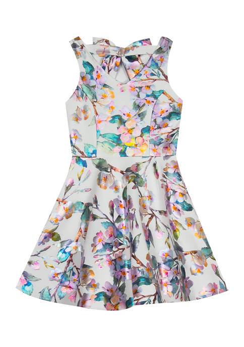 Rare Editions Girls 4-6x Multi Foiled Floral Printed