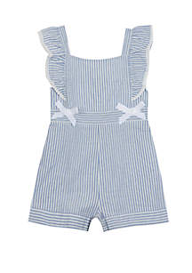 Rare Editions Girls 4-6x Stripe Romper with Bows